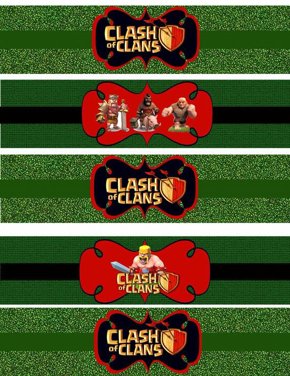 Instant download Clash of Clans Water Bottle wrappers JPEG 300 dpi printable iphone games boys shields trophy fight clan on Etsy, $4.00