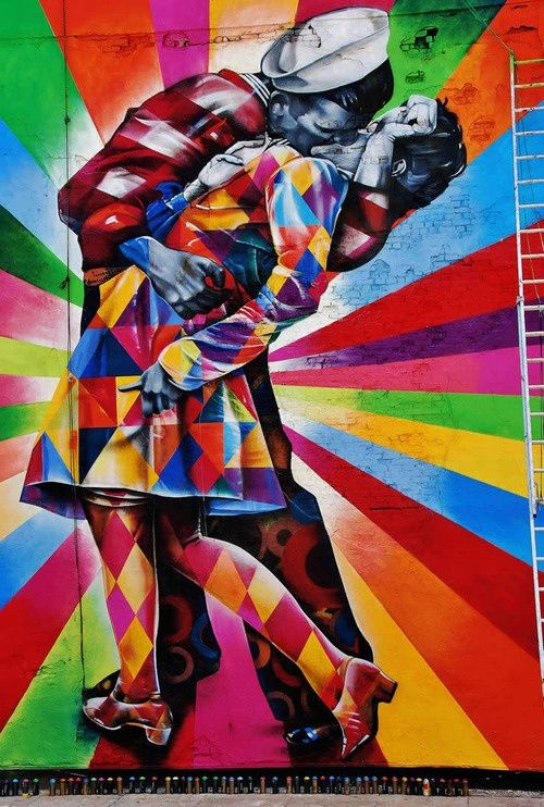 The Kissing Sailor, street art by Eduardo Kobra