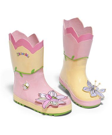 Take a look at this Yellow Lotus Rain Boot by Kidorable on #zulily today!