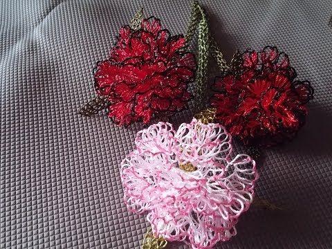 İğne oyaları karanfil çiçeği yapımı, Carnation, Nelke 針花邊 الدانتيل إبرة - YouTube