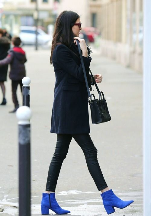 Shop this look for $142:  http://lookastic.com/women/looks/overcoat-and-leggings-and-ankle-boots-and-crossbody-bag-and-scarf/1667  — Navy Coat  — Black Leather Leggings  — Blue Suede Ankle Boots  — Black Leather Crossbody Bag  — Black Scarf