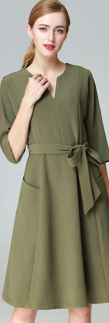 Khaki Pockets Dress with Sash