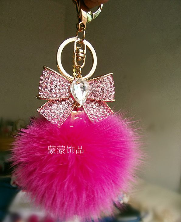 Rhinestone bow keychain fox fur bag zircon male women's car keychain-inKey Chains from Apparel & Accessories on Aliexpress.com