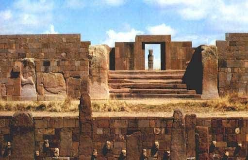 Tiwanaku, Bolivia - The steps of the Kalasasaya (Temple), are each a rectangular block of stone about 30 feet wide