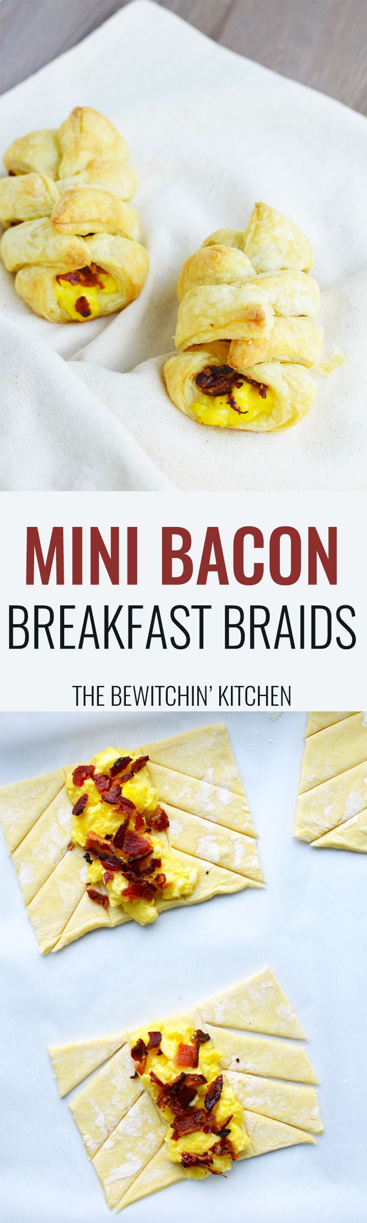 Mini Bacon Breakfast Braids - this egg and bacon recipe is a brunch hit. Using puff pastry, bacon and eggs plus any fill ins you want. This also makes a great baby shower recipe or can be used as a bridal shower recipe. | thebewitchinkitchen.com