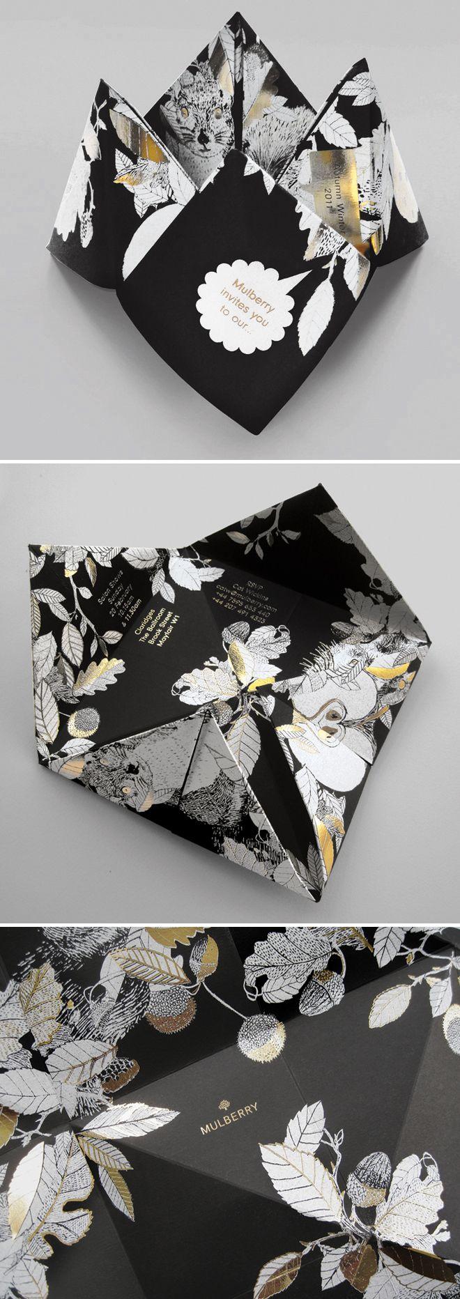Mulberry origami fashion week invitation - dark floral  luxury wedding invitation inspiration