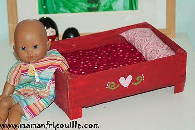 Fabriquer un lit de poupée avec une boîte de clémentines