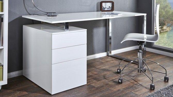 Bureau Droit Moderne Laque Blanc Avec Caisson Cole Gdegdesign Meuble Bureau Design Bureau Design Bureau Blanc Laque