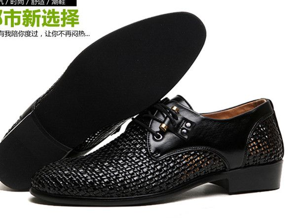 Whole 2017 New Hot Style Black Breathable Leather Cusp Shoes Dress Men S Casual Groom