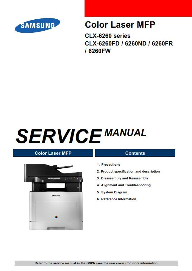 Samsung Clx 6260fw Color Laser Printer Service Manual Laser Printer Printer Disassembly