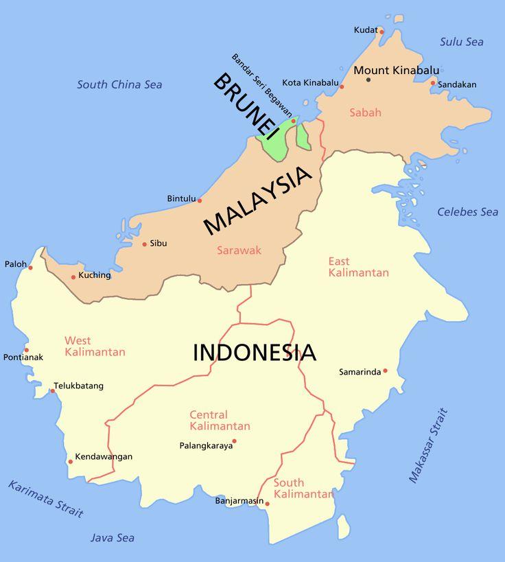 Bornéo : carte géographique Sabah Sarawak Kalimantan