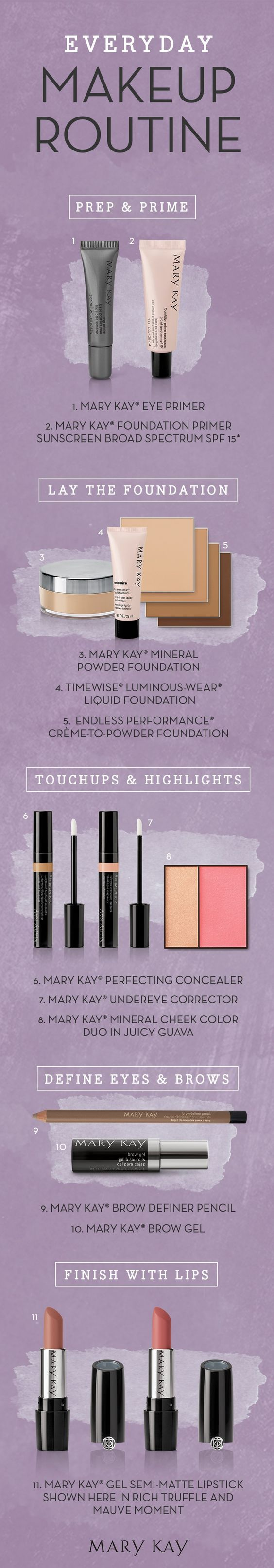Our go-to Mary Kay makeup routine, everyday! Discover some everyday must-haves, from skincare prep to finishing touches.