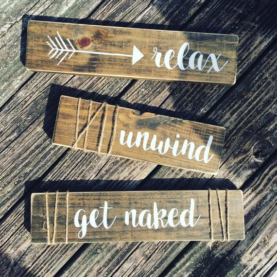 rustic bathroom decor set of 3 bathroom by bandpcustomwoodsigns - Diy Bathroom Decor