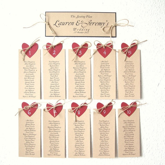 Wedding seating plan with Red heart and natural jute by shintashop, £13.00