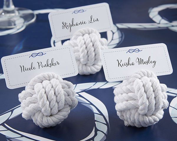 """Made of natural cotton, the """"Monkey's Fist"""" knot is traditionally used by sailors because it holds its shape, has some weight to it and doesn't roll. Now you can add to your nautically themed wedding"""