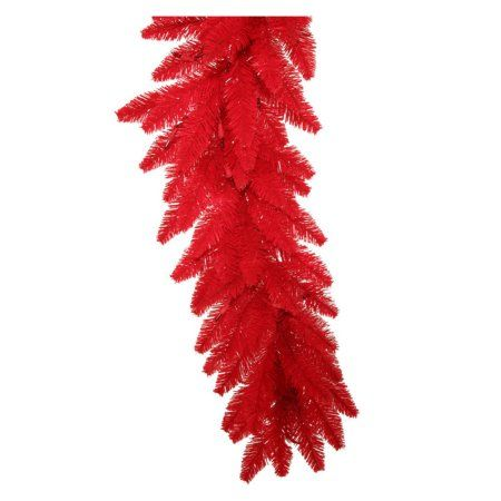 Vickerman 9' Red Artificial Christmas Garland with 100 Red LED Lights
