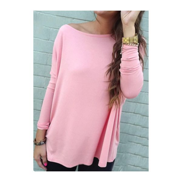 Rotita Pink Batwing Sleeve Loose T Shirt ($15) ❤ liked on Polyvore featuring tops, t-shirts, pink, longsleeve t shirts, pink long sleeve tee, pink t shirt, long sleeve tops and print tees
