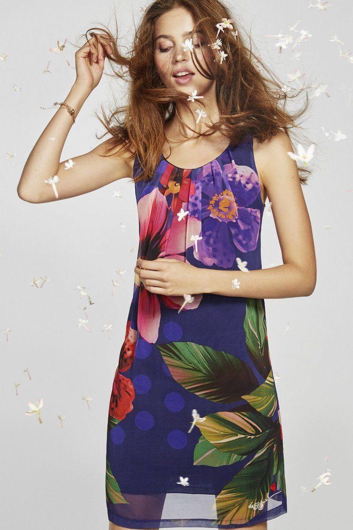 Robe droite à imprimé floral   Desigual.com 5040