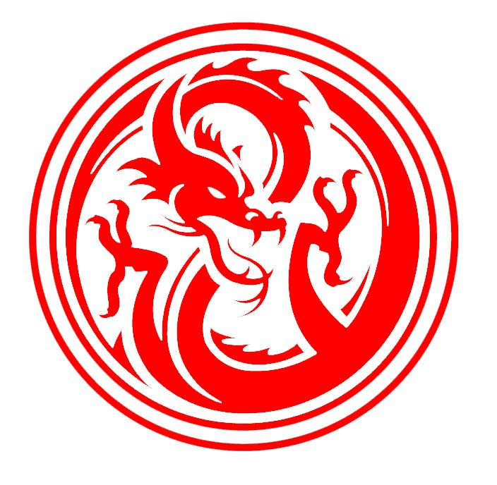 Red dragon logo inside a circle