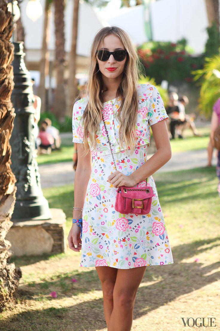 Harley Viera Newton Vintage Chanel dress, Roger Vivier bag Coachella Street Style