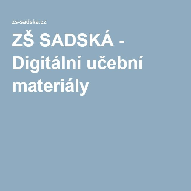 ZŠ SADSKÁ - Digitální učební materiály