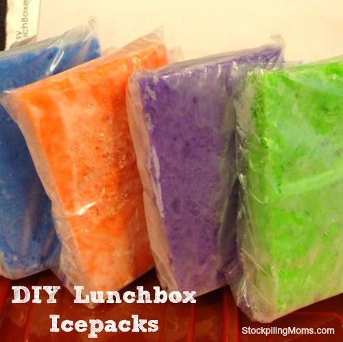In the morning toss into the lunchbox. As they melt, they will reabsorb the water so just toss them back into the freezer after school.