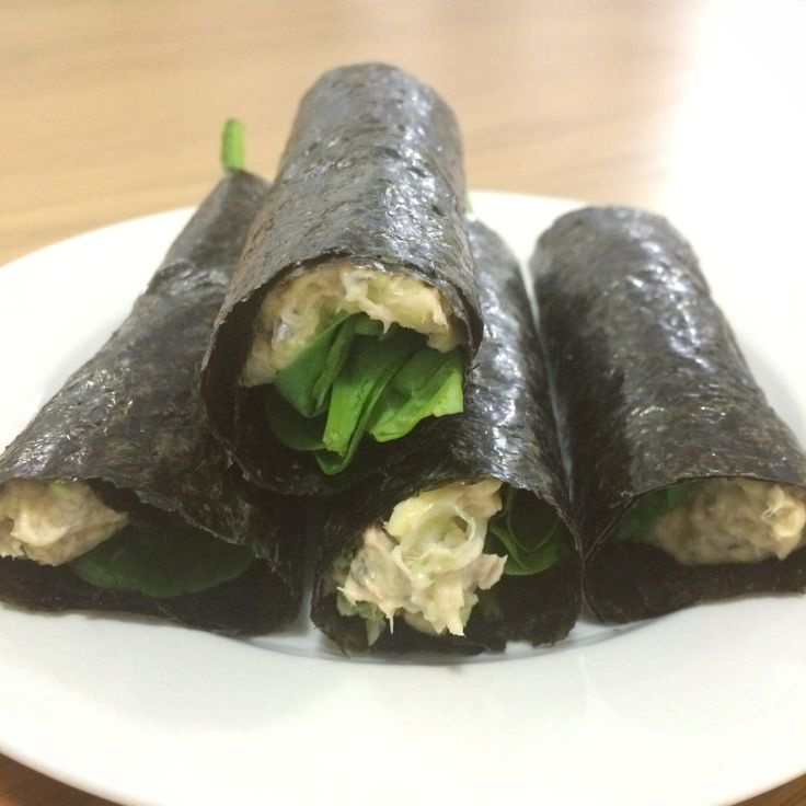 Breakfast (or lunch or dinner) Nori Rolls - tinned salmon, avo, mayo and S&P mashed together, baby spinach on top and wrapped in seaweed sheets