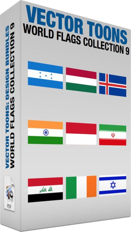 World Flags Collection 9:   Bundle of images includes the following:  Flag Of Honduras The national flag of Honduras with horizontally striped blue white and blue bars with five central blue stars  Flag Of Hungary The national flag of Hungary with horizontally striped red white and green bars  Flag Of Iceland The national flag of Finland consisting of a blue field background incorporating a white bordered red cross  Flag Of India The national flag of India with horizontally striped muted…
