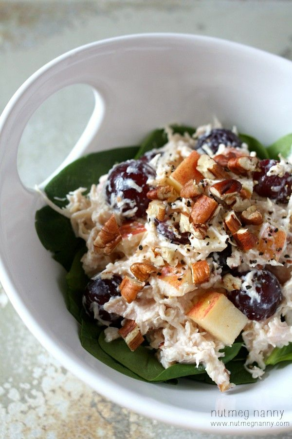 This tangy Greek yogurt chicken salad is the perfect lunchtime meal. Packed full of chicken, apples, grapes, pecans and Greek yogurt.