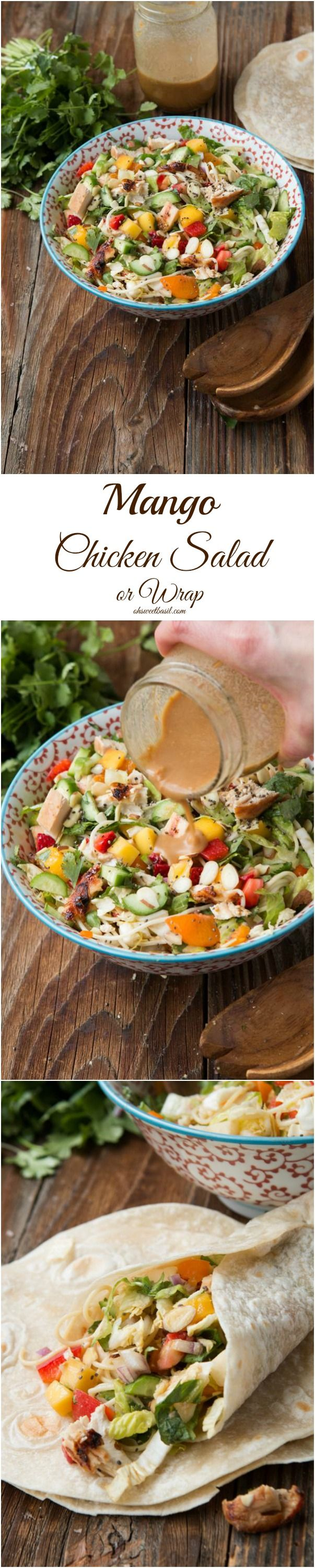 Mango chicken salad or even a wrap that the whole family loves! ohsweetbasil.com