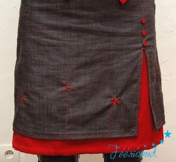 jupe superposée jean noir et jupon rouge - Frederiscrap