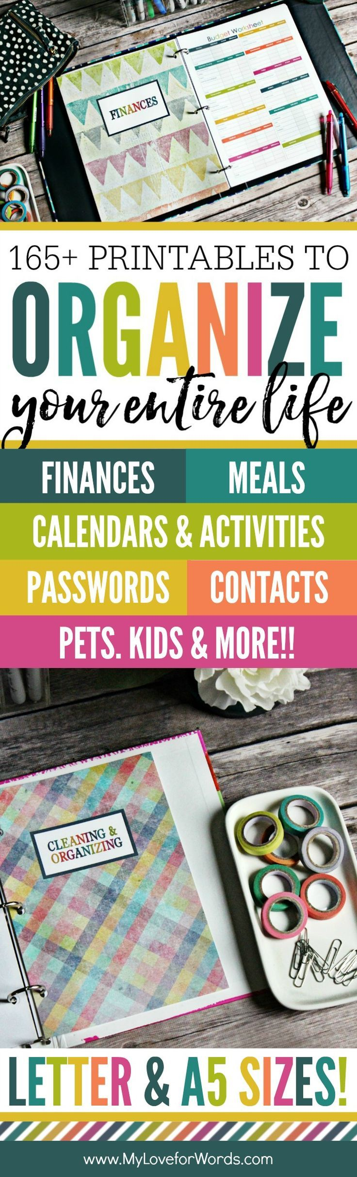 Getting organized just got easier!! This printable planner is perfect for organizing your time, daily, weekly, and monthly activities, cleaning routine, meal planning, finances, kids, pets, passwords, contacts, and more! Just about anything you'd want to schedule can be tracked and organized while reducing the paperwork floating around your home! It has more than 165 different printables and comes in both the standard letter and A5 sizes.