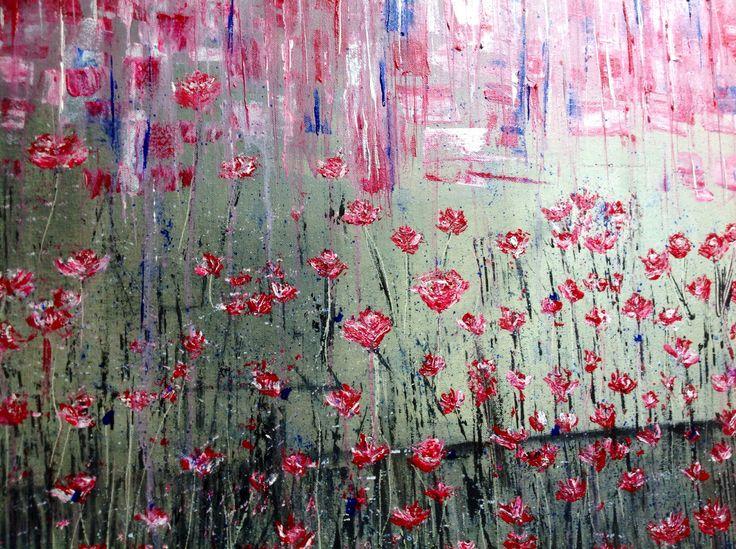 Rossi fiori_acrilico su tela_100x50 cm
