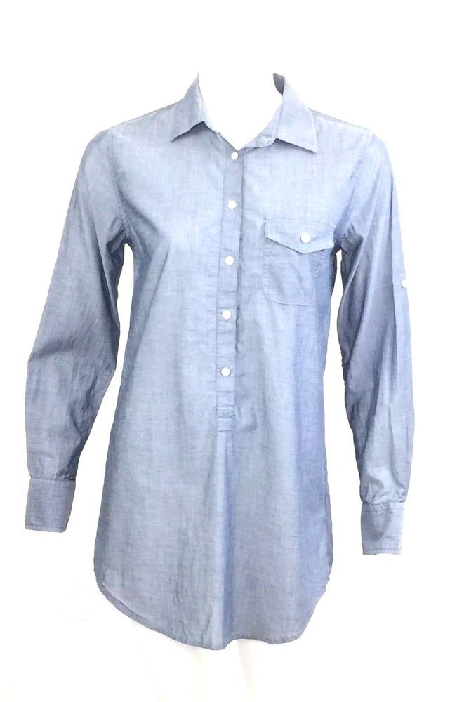 24aa703eca J Crew Factory Womens Chambray Pocket Tunic Top Size XS Tab Sleeve Popover   fashion  clothing  shoes  accessories  womensclothing  tops (ebay link)