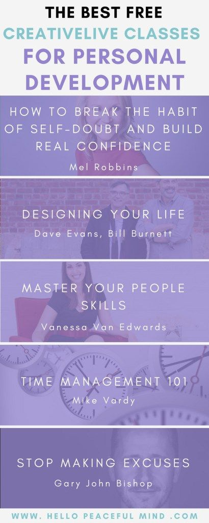 Do you want to improve your life? Check out these free classes on CreativeLive. Click the image to find the links on www.HelloPeacefulMind.com