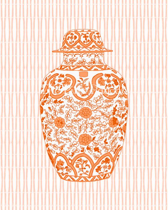 Orange Ming Ginger Jar 8x10 Giclee  The size of this item is 8x10. I used an image of a chinese ginger jar and Adobe Photoshop with an art software