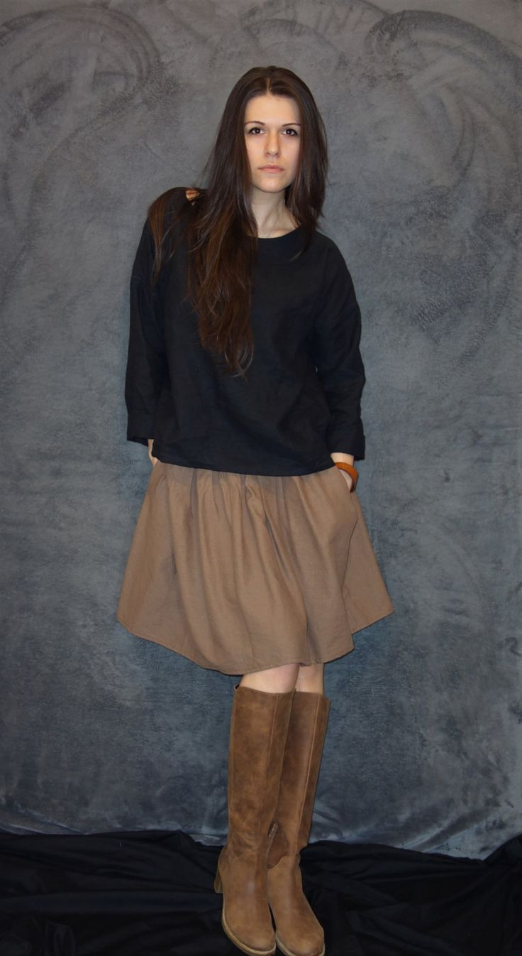 Brown Linen Skirt, Handmade Skirt, Modern Vintage Skirt, Natural Fabric, Woman Fashion, Elegant, Casual Clothing, Sustainable fashion by LinenTheOldWays on Etsy