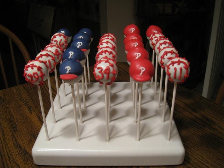 Baseball theme cake pops