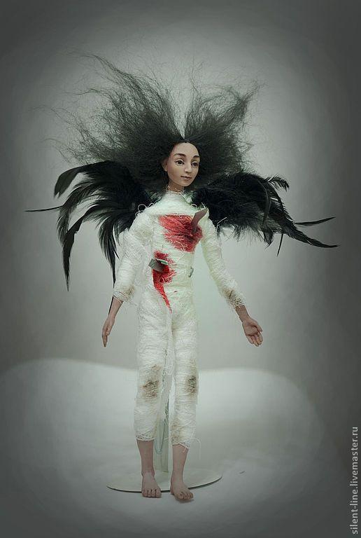 Купить Грустный Ангел. - черный, готика, ангел, авторская кукла, готический стиль, Готическая кукла
