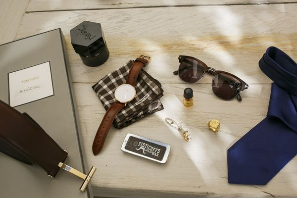 The secret is in the details. Hip and fashionable groom accessories   Wedding in Santorini