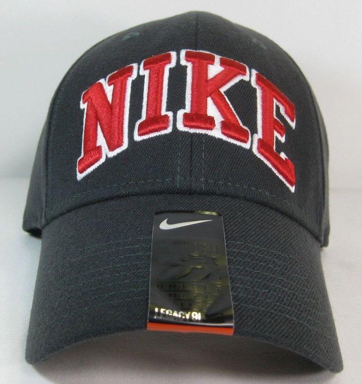 NIKE Hat Adult Unisex Flex Legacy 91 Sport Casual Training Cap Gray Red Swoosh #Nike #BallCap
