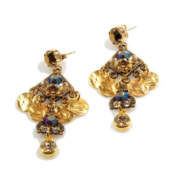 Christmas earrings gold brass bohemian earrings door CatenaSieraden