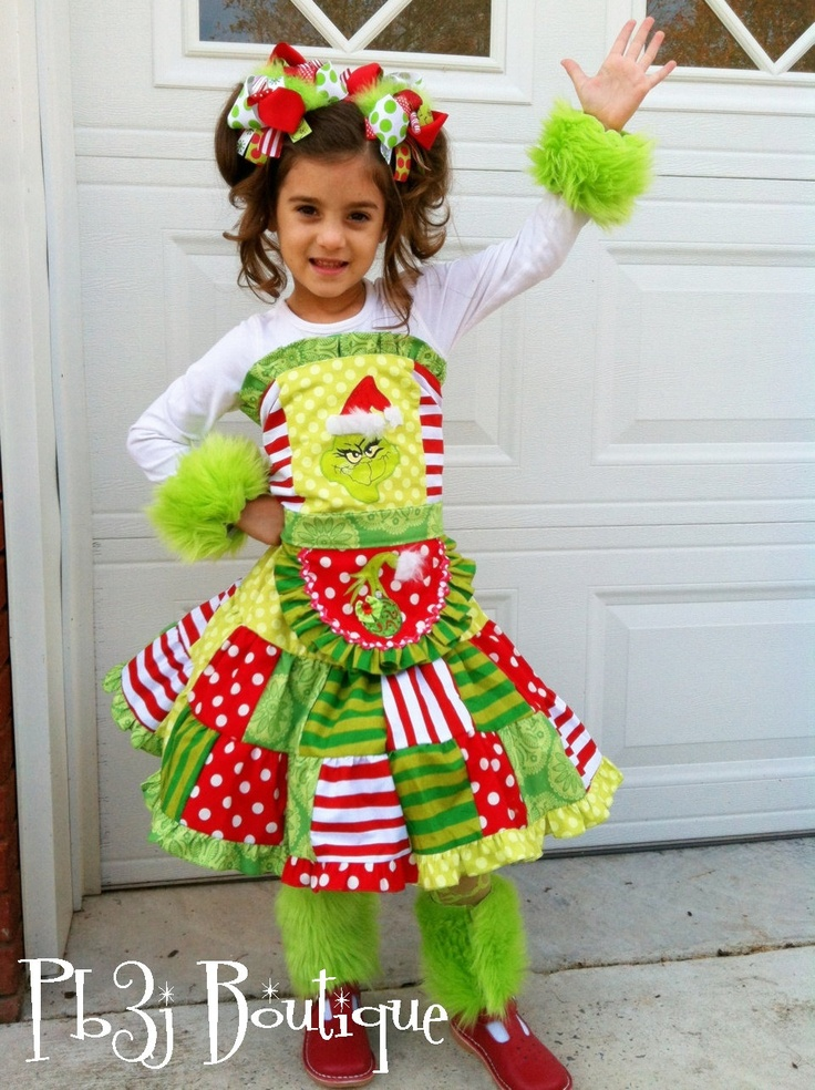 Girls Grinch Christmas Outfit 5 Pc Set Twirl Skirt