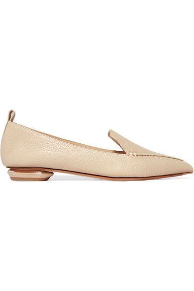 Nicholas Kirkwood - Beya Textured-leather Point-toe Flats - Beige - IT37.5