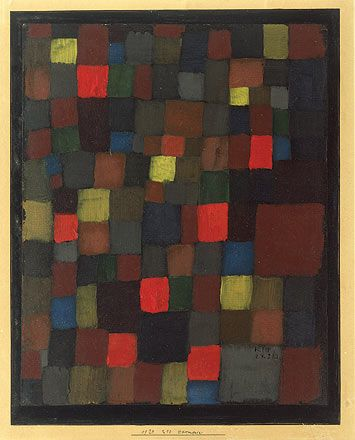 Abstract Colour Harmony in Squares with Vermillion Accents - Paul Klee,1924, Abstract Art, Period: Bauhaus, Oil on cardboard