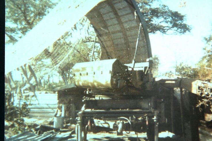 Cymbeline mortar locating radar set emplacement at Golf Arty Base, formerly Fort Human. Caprivi 1978