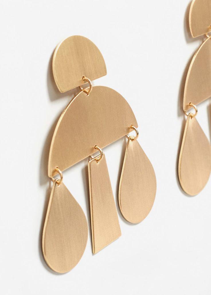 Boucles d'oreilles pendentifs métalliques - Femme | MANGO France