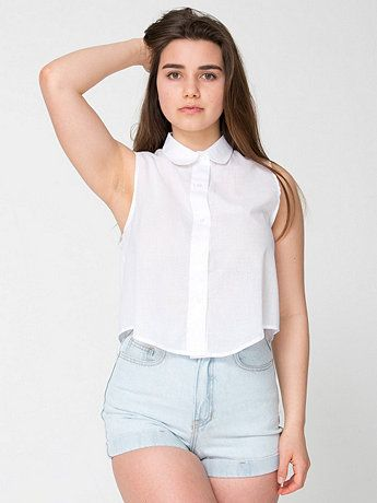 Sleeveless Lawn Crop Button-Up | American Apparel