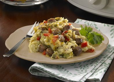 Johnsonville Slow Cooker Overnight Breakfast Casserole (Note to self: cut recipe in half, use small crock)