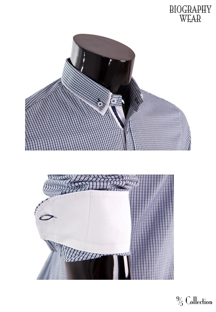 New* Fitted/Double Collar Button Down Details.